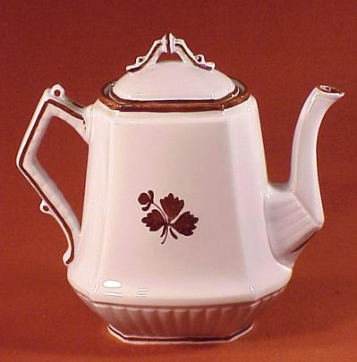 Burgess - Square Ridged - Beaded Handle - Tea Leaf - Teapot