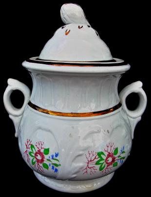 Clementson - Hill Shape - Lustre Band - Sugar Bowl with Polychrome