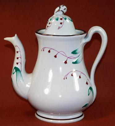 Cochran - Hyacinth - Lustre Band - Teapot - WIth Teal and Pink Polychrome Lustre