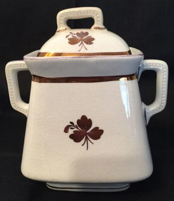East End - Simple Square - Beaded Handle - Tea Leaf - Sugar Bowl