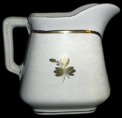 East End - Simple Square - Beaded Handle - Tea Leaf - Creamer