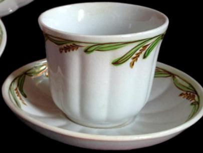 Elsmore and Forster - Ceres Shape - Lustre Band - Cup and Saucer - Copper Lustre with Green and Yellow