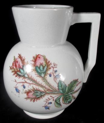 Steubenville Pottery - Plain Collar - Moss Rose - Hot Water Jug