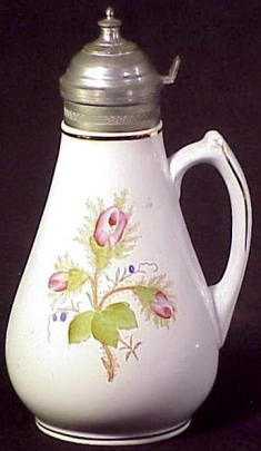 W P Co - Plain Round - Moss Rose - Syrup Pitcher
