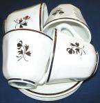 Red Cliff - Chinese Shape - Tea Leaf -  Cups and Saucers